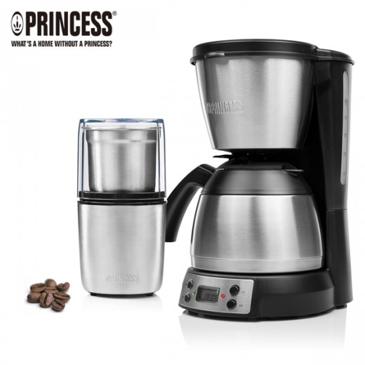 荷蘭公主保溫壺咖啡機+磨豆機超值組  246009+221041