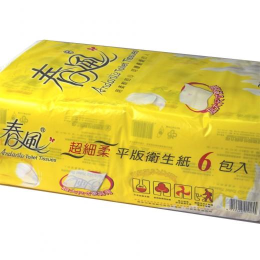 春風平版衛生紙  (300抽x6包/袋)
