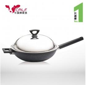 牛頭牌原石厚釜不沾平圓32cm炒鍋+圓形便當盒(M)
